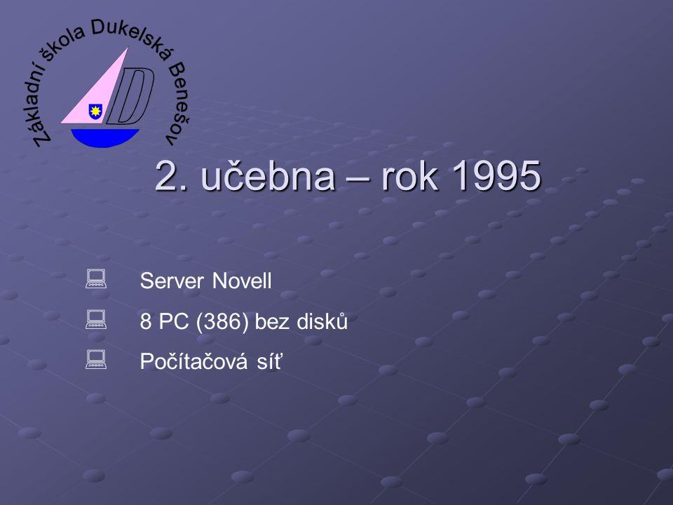 2. učebna – rok 1995 Server Novell 8 PC (386) bez disků Počítačová síť