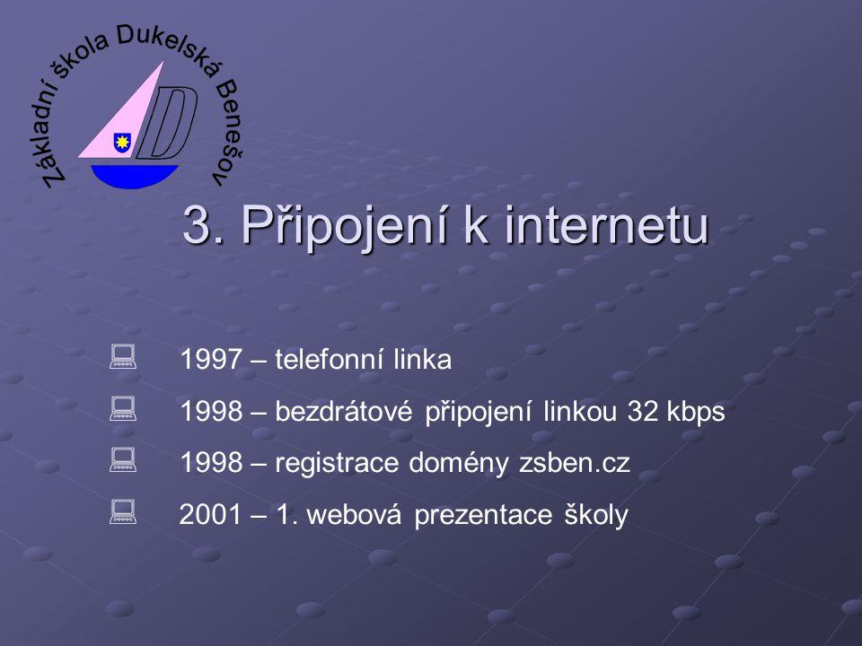3. Připojení k internetu 1997 – telefonní linka