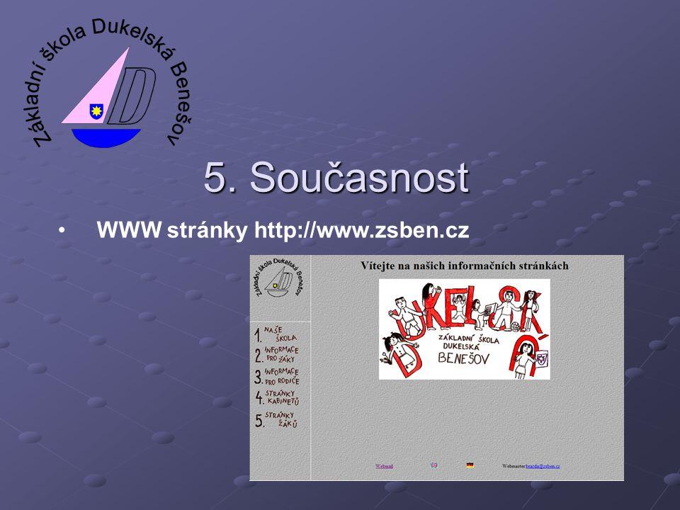 5. Současnost WWW stránky http://www.zsben.cz