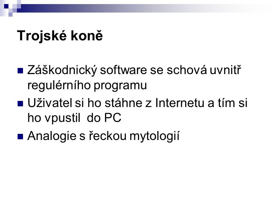 Trojské koně Záškodnický software se schová uvnitř regulérního programu. Uživatel si ho stáhne z Internetu a tím si ho vpustil do PC.