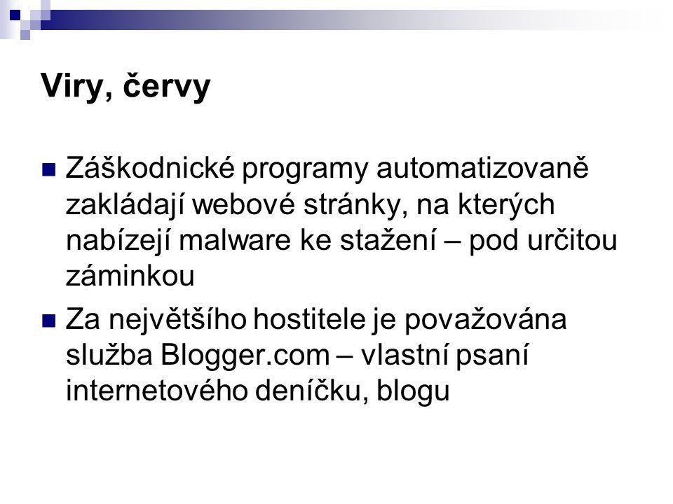 Viry, červy Záškodnické programy automatizovaně zakládají webové stránky, na kterých nabízejí malware ke stažení – pod určitou záminkou.