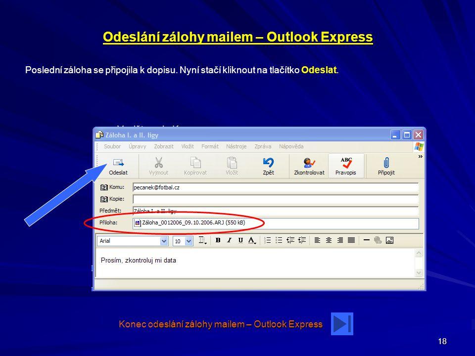 Odeslání zálohy mailem – Outlook Express