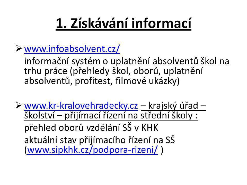 1. Získávání informací www.infoabsolvent.cz/