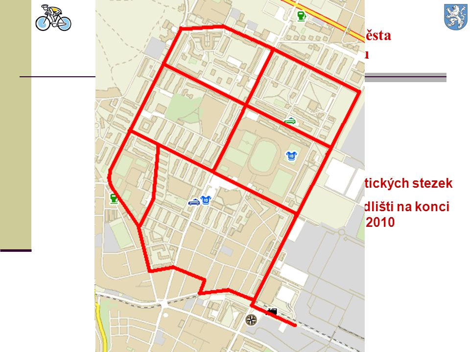 10,8 km cyklistických stezek v severním sídlišti na konci roku 2010