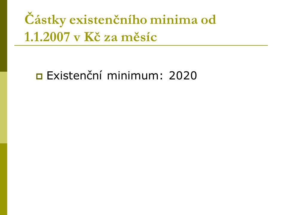 Částky existenčního minima od 1.1.2007 v Kč za měsíc