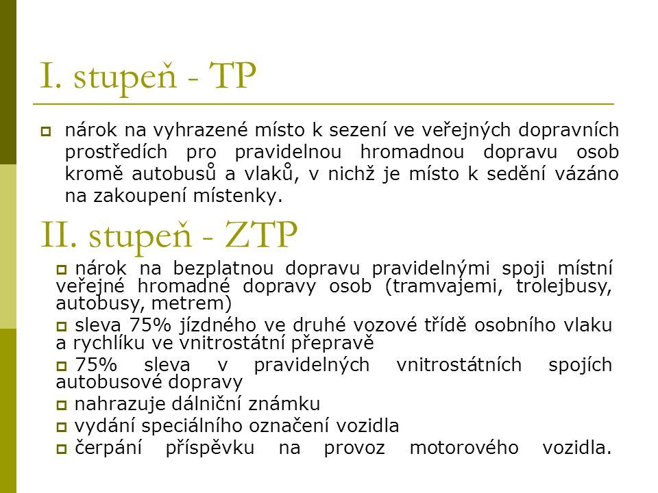 I. stupeň - TP II. stupeň - ZTP