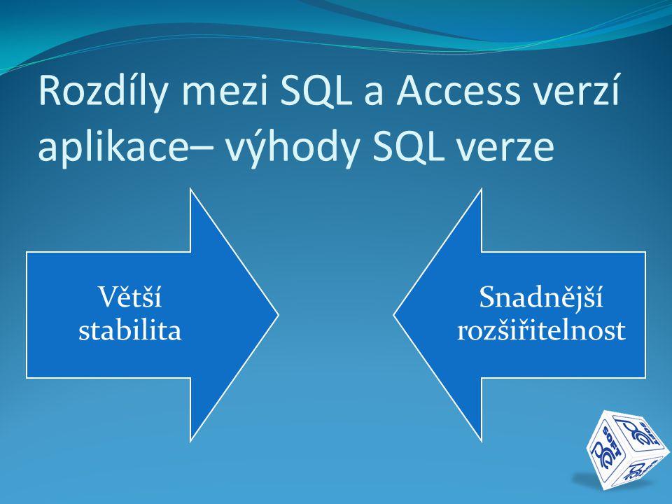 Rozdíly mezi SQL a Access verzí aplikace– výhody SQL verze