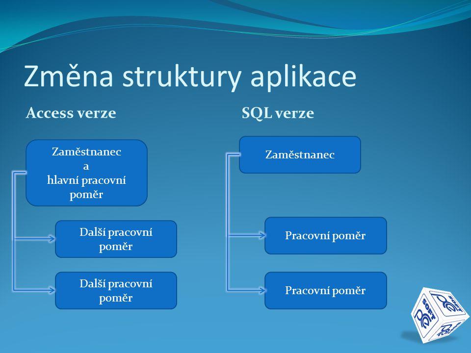 Změna struktury aplikace