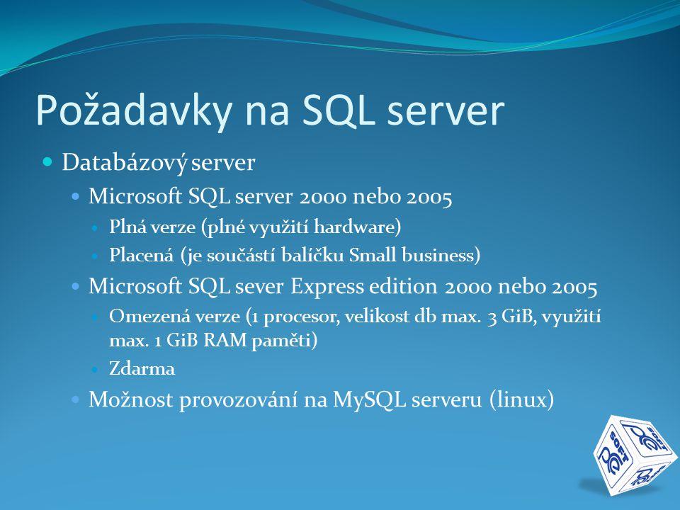 Požadavky na SQL server