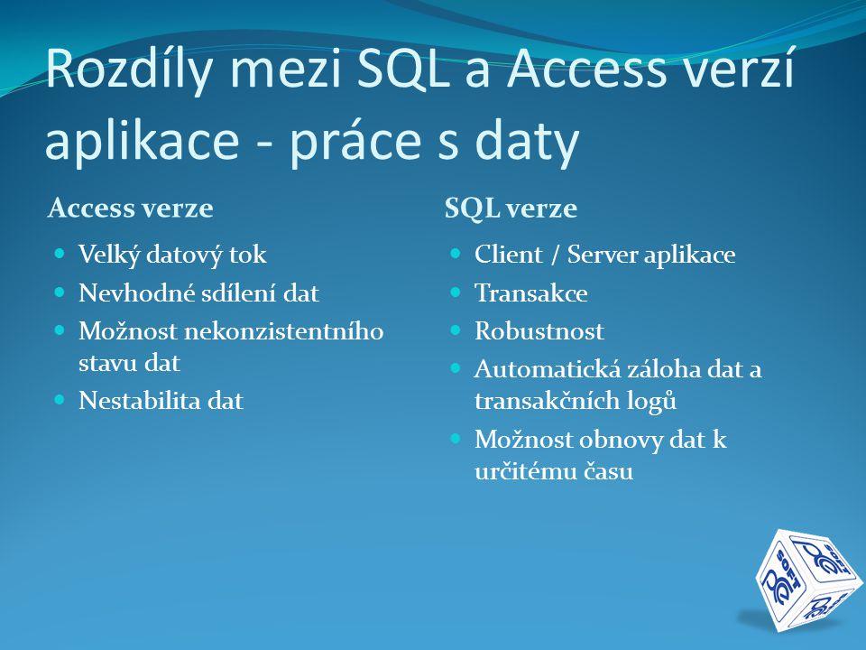 Rozdíly mezi SQL a Access verzí aplikace - práce s daty