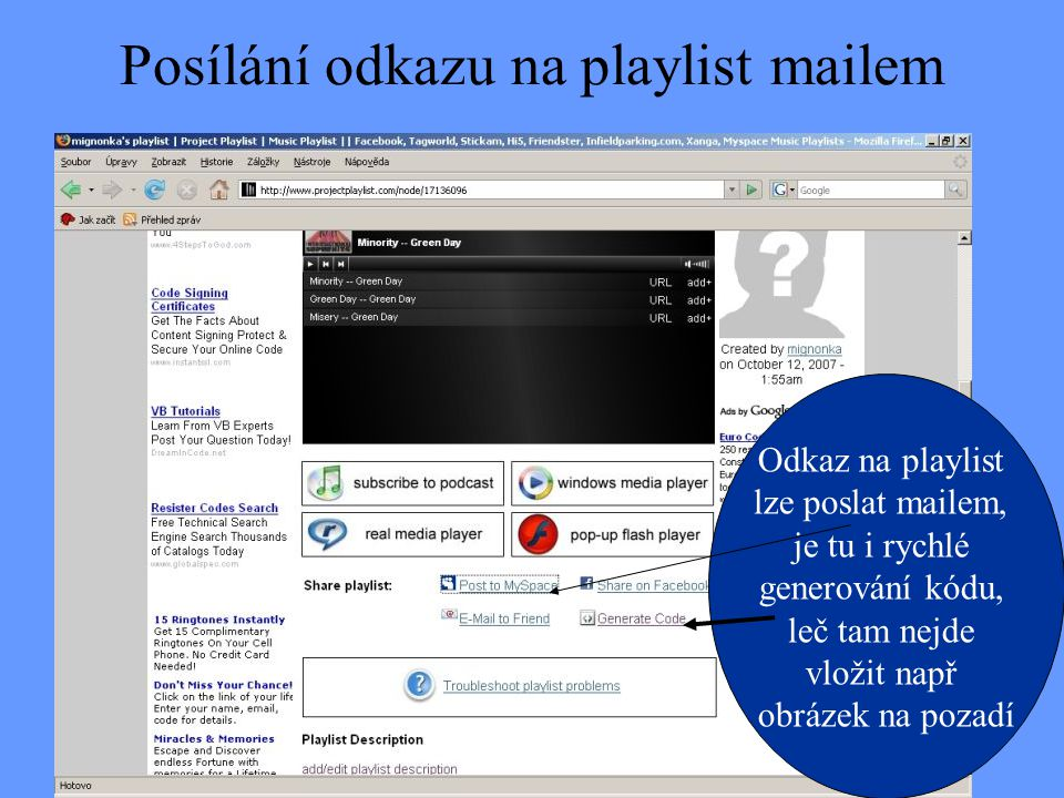 Posílání odkazu na playlist mailem