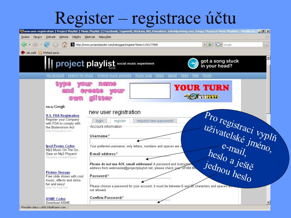 Register – registrace účtu