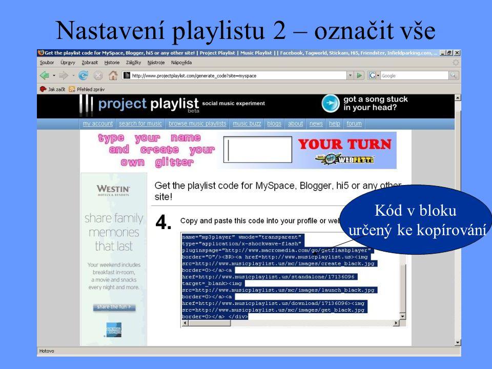 Nastavení playlistu 2 – označit vše
