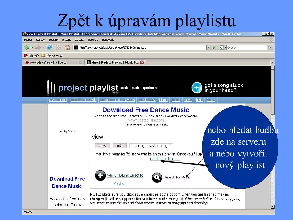 Zpět k úpravám playlistu