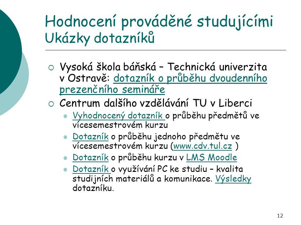 Hodnocení prováděné studujícími Ukázky dotazníků
