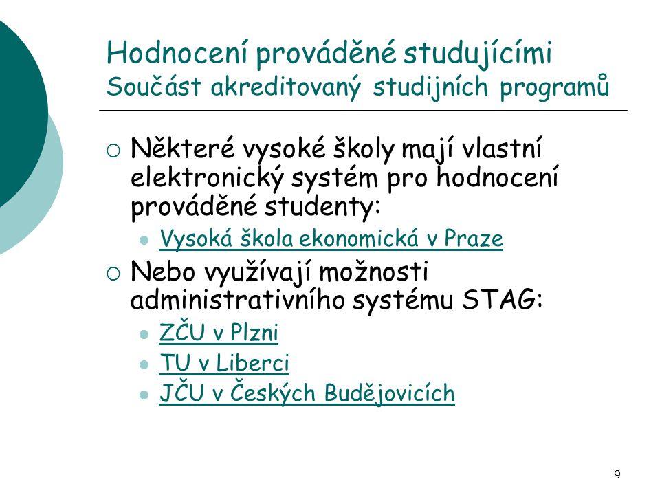 Hodnocení prováděné studujícími Součást akreditovaný studijních programů
