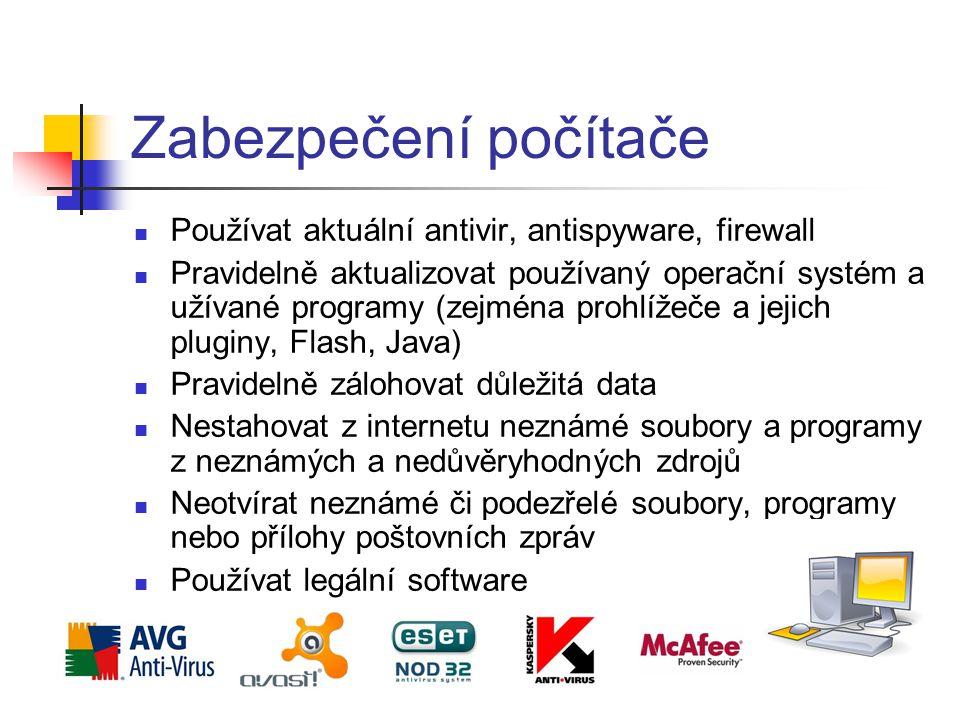 Zabezpečení počítače Používat aktuální antivir, antispyware, firewall