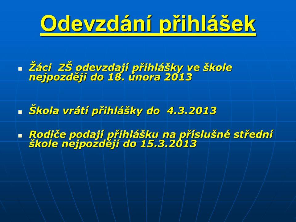Odevzdání přihlášek Žáci ZŠ odevzdají přihlášky ve škole nejpozději do 18. února 2013. Škola vrátí přihlášky do 4.3.2013.