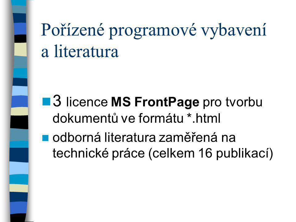 Pořízené programové vybavení a literatura