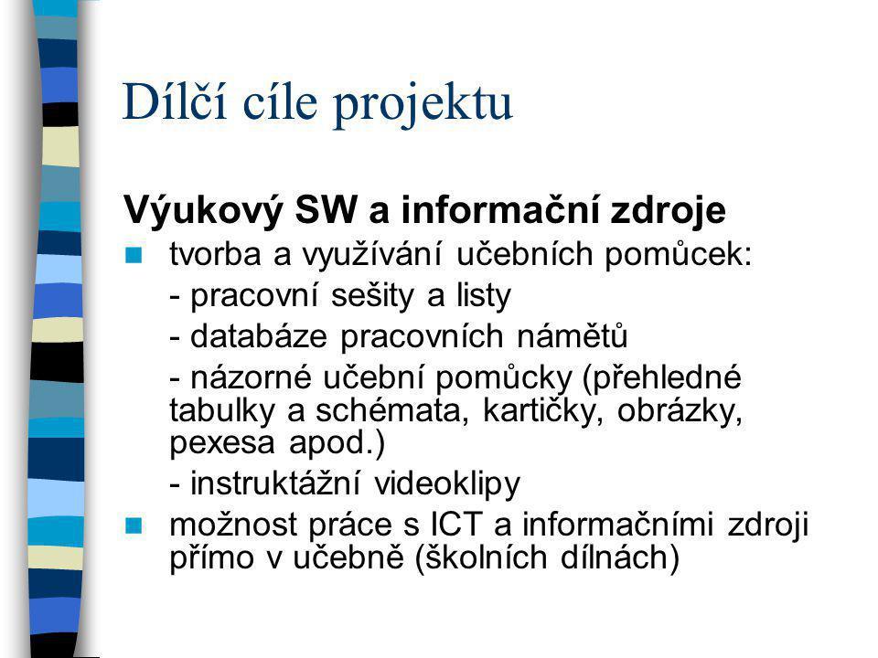 Dílčí cíle projektu Výukový SW a informační zdroje