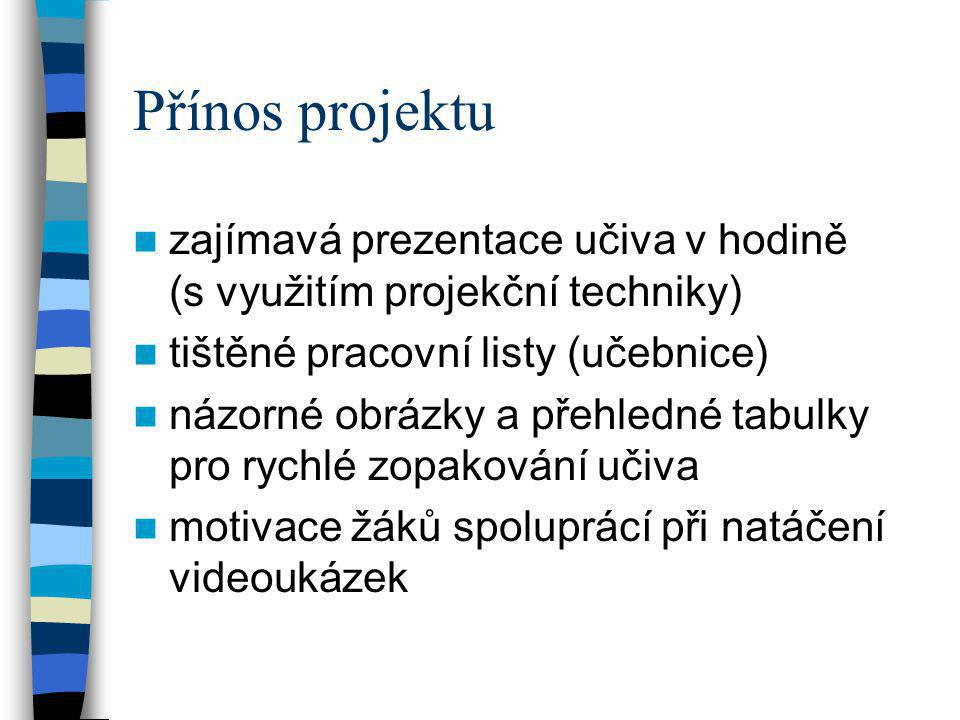 Přínos projektu zajímavá prezentace učiva v hodině (s využitím projekční techniky) tištěné pracovní listy (učebnice)