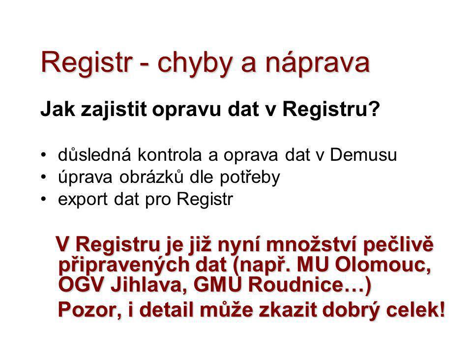 Registr - chyby a náprava