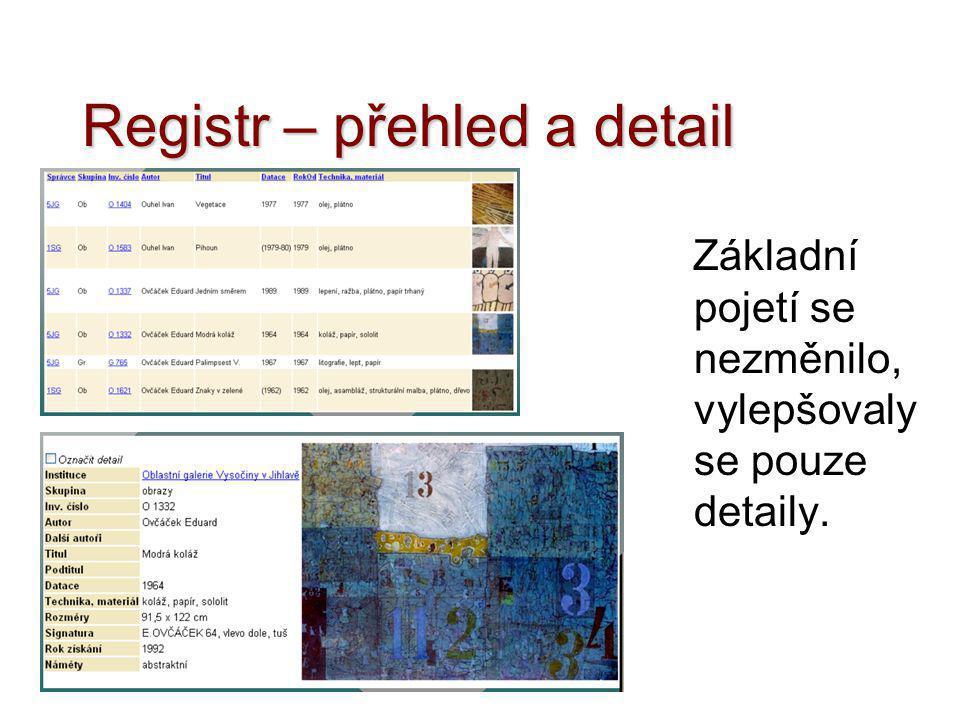 Registr – přehled a detail