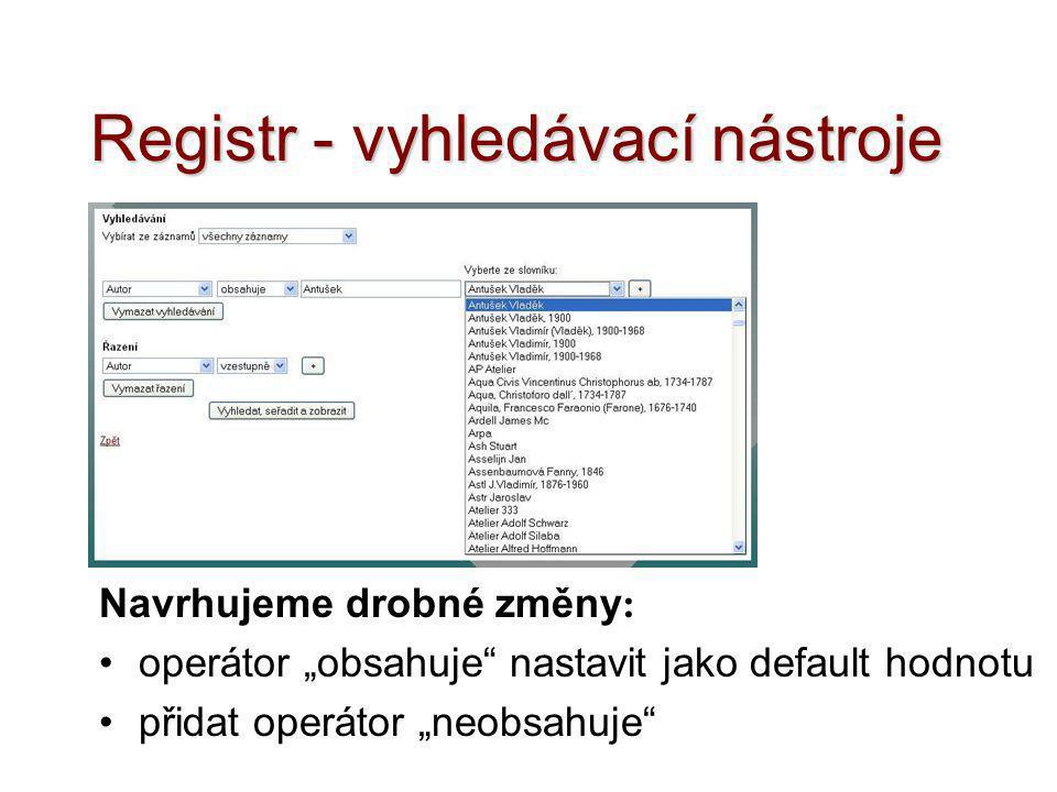 Registr - vyhledávací nástroje