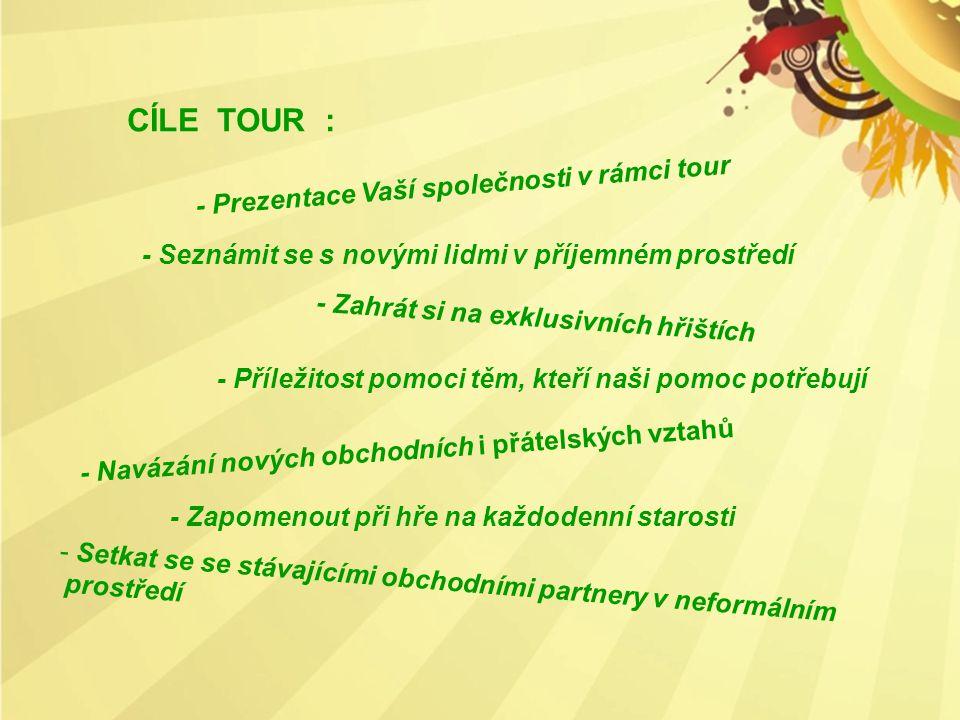 CÍLE TOUR : - Prezentace Vaší společnosti v rámci tour