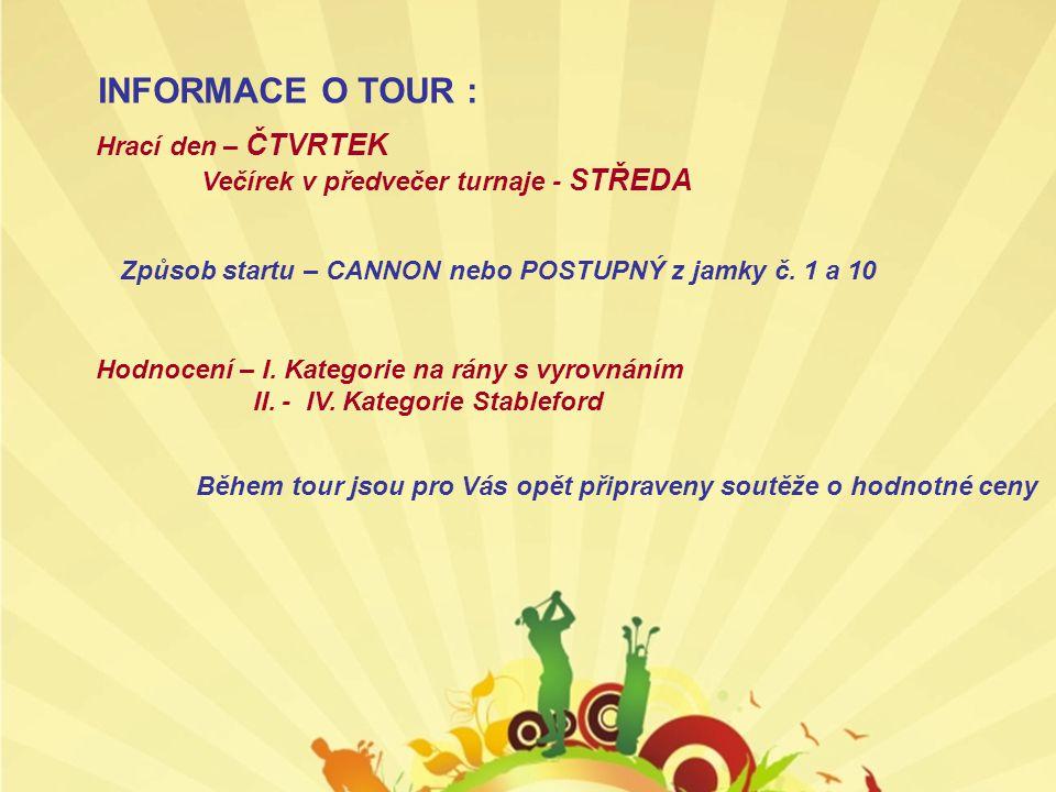 INFORMACE O TOUR : Hrací den – ČTVRTEK