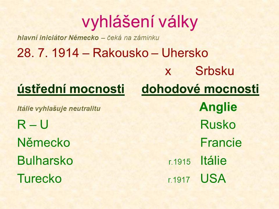 vyhlášení války 28. 7. 1914 – Rakousko – Uhersko x Srbsku