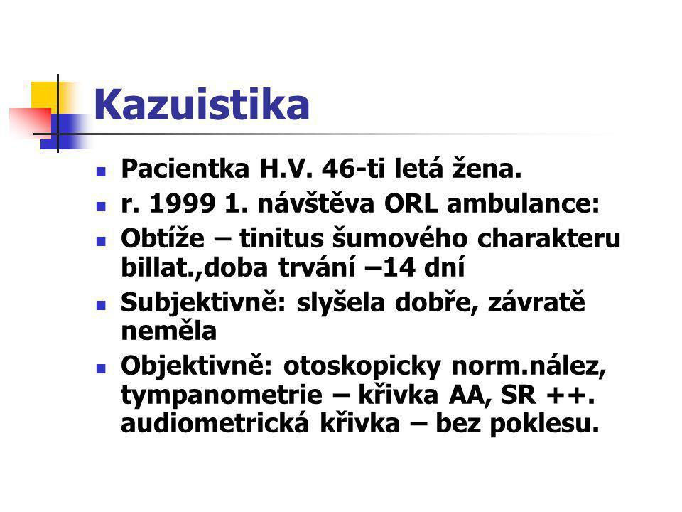 Kazuistika Pacientka H.V. 46-ti letá žena.