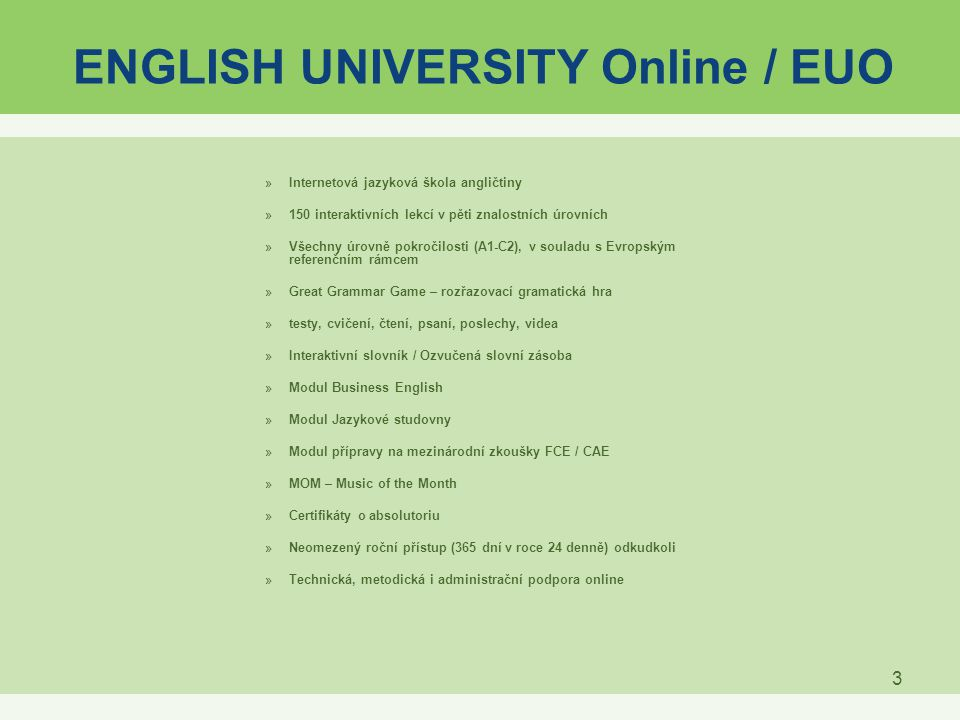 ENGLISH UNIVERSITY Online / EUO