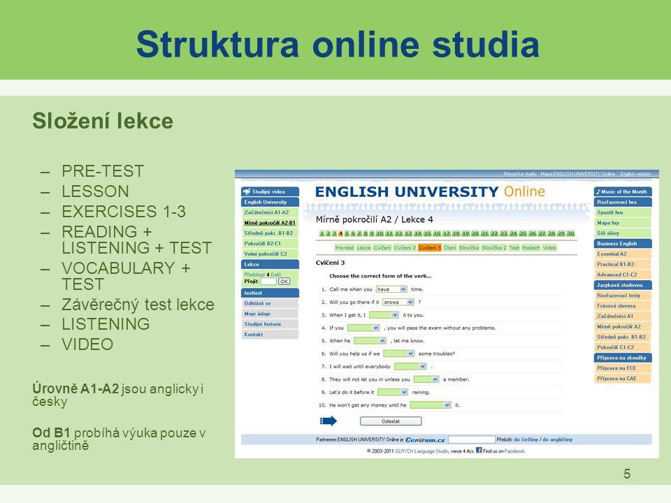 Struktura online studia