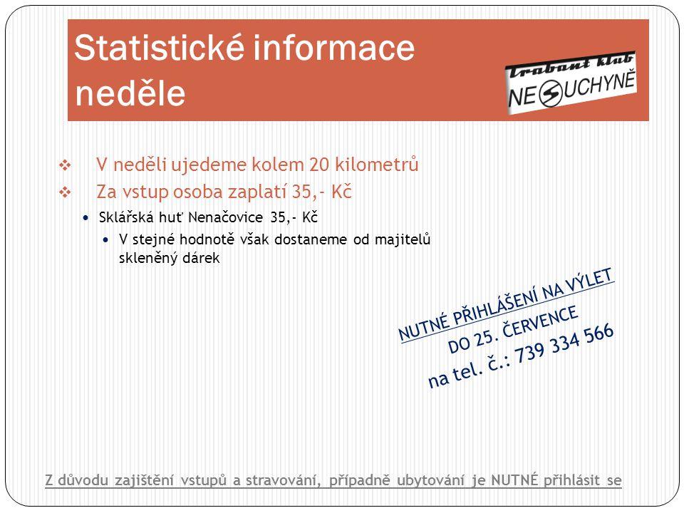 Statistické informace neděle