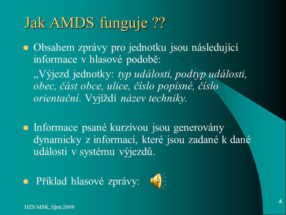 Jak AMDS funguje Obsahem zprávy pro jednotku jsou následující informace v hlasové podobě: