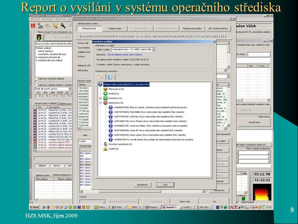 Report o vysílání v systému operačního střediska