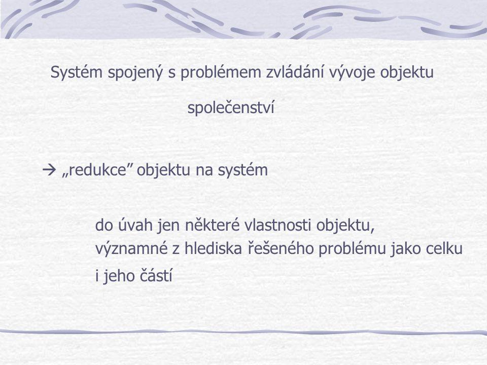 Systém spojený s problémem zvládání vývoje objektu společenství