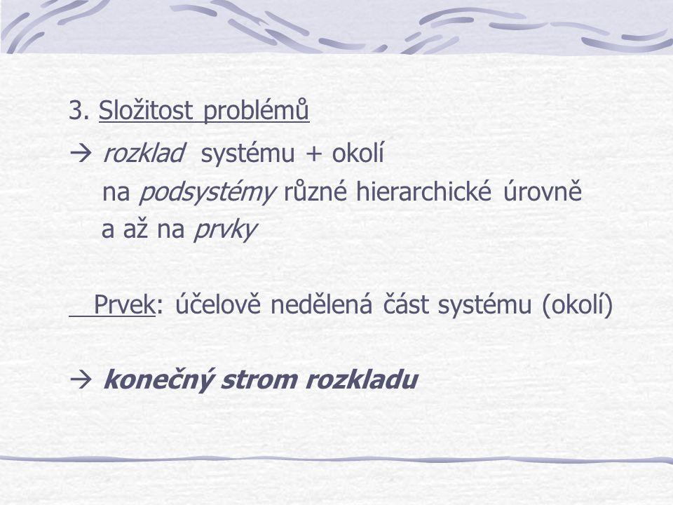 3. Složitost problémů  rozklad systému + okolí. na podsystémy různé hierarchické úrovně. a až na prvky.