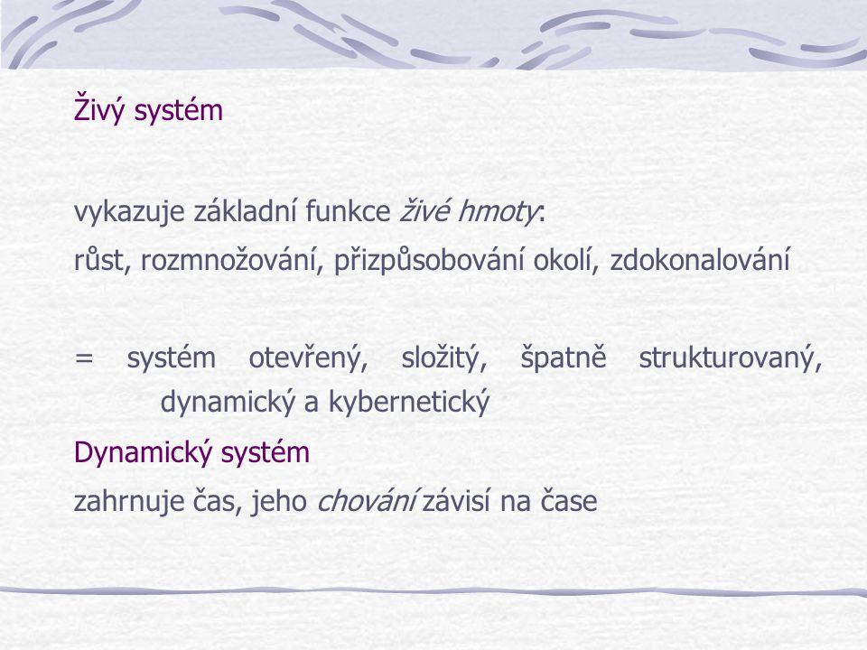 Živý systém vykazuje základní funkce živé hmoty: růst, rozmnožování, přizpůsobování okolí, zdokonalování.