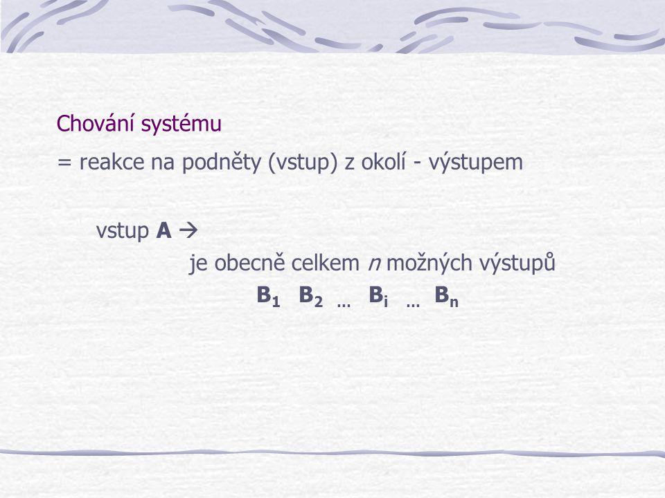 Chování systému = reakce na podněty (vstup) z okolí - výstupem. vstup A  je obecně celkem n možných výstupů.