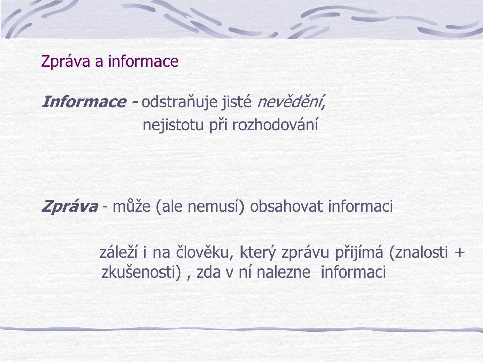 Zpráva a informace Informace - odstraňuje jisté nevědění, nejistotu při rozhodování. Zpráva - může (ale nemusí) obsahovat informaci.