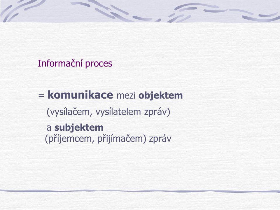 Informační proces = komunikace mezi objektem.