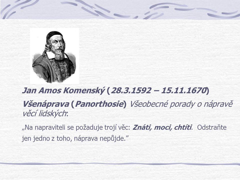 Jan Amos Komenský (28.3.1592 – 15.11.1670) Všenáprava (Panorthosie) Všeobecné porady o nápravě věcí lidských: