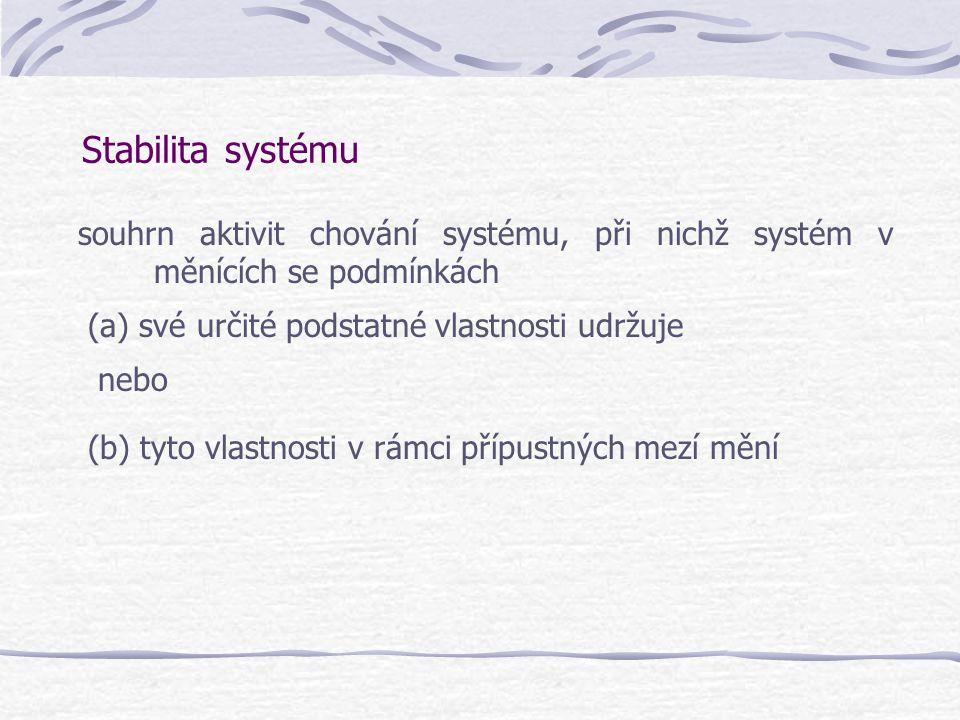 Stabilita systému souhrn aktivit chování systému, při nichž systém v měnících se podmínkách. (a) své určité podstatné vlastnosti udržuje.
