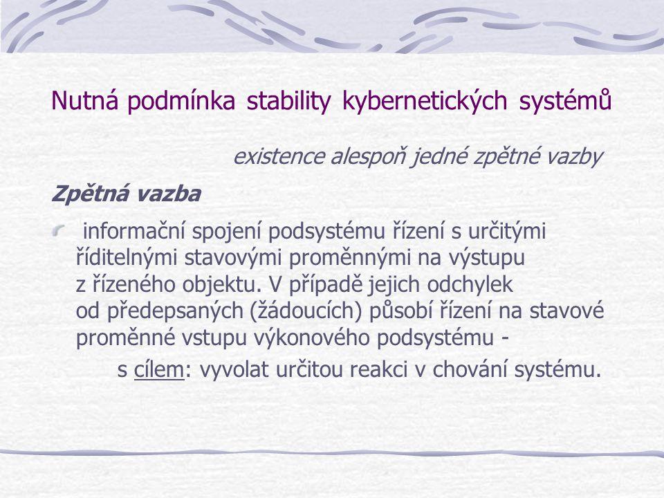 Nutná podmínka stability kybernetických systémů