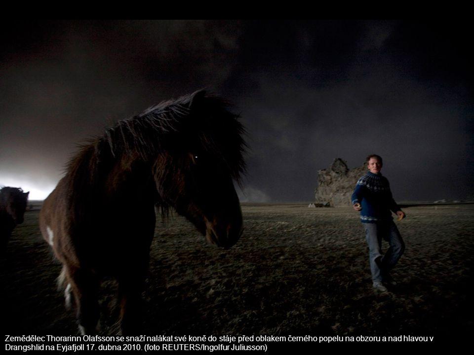 Zemědělec Thorarinn Ólafsson se snaží nalákat své koně do stáje před oblakem černého popelu na obzoru a nad hlavou v Drangshlid na Eyjafjoll 17.