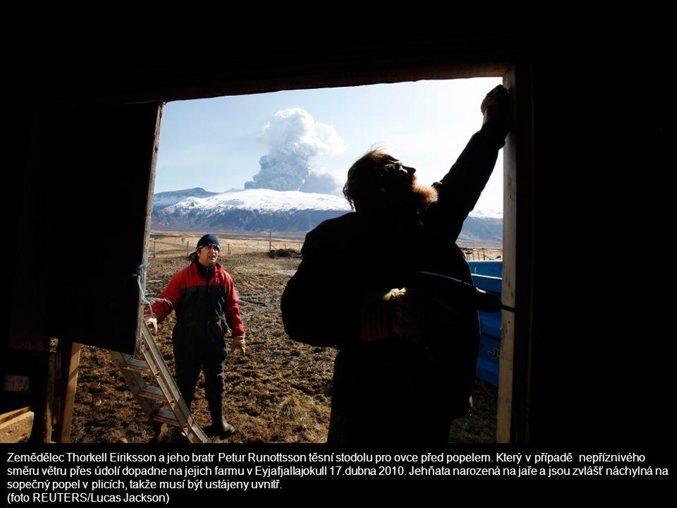 Zemědělec Thorkell Eiriksson a jeho bratr Petur Runottsson těsní stodolu pro ovce před popelem. Který v případě nepříznivého směru větru přes údolí dopadne na jejich farmu v Eyjafjallajokull 17.dubna 2010. Jehňata narozená na jaře a jsou zvlášť náchylná na sopečný popel v plicích, takže musí být ustájeny uvnitř.