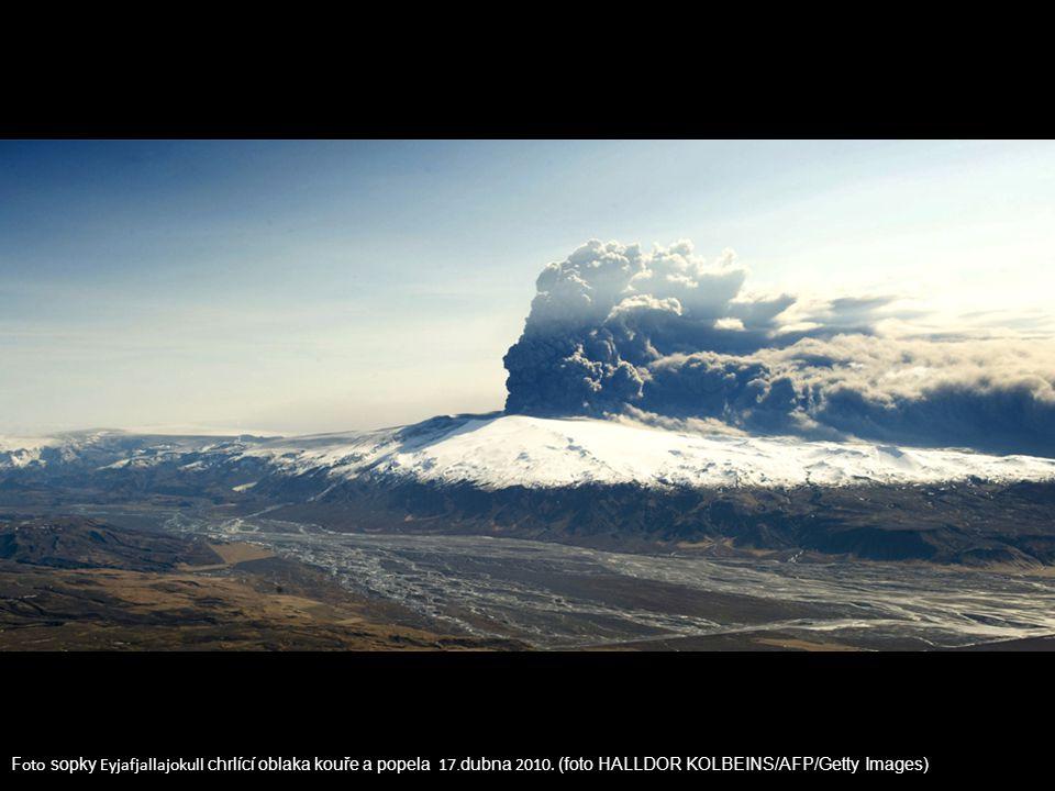 Foto sopky Eyjafjallajokull chrlící oblaka kouře a popela 17