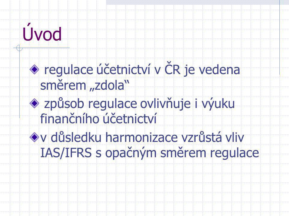 """Úvod regulace účetnictví v ČR je vedena směrem """"zdola"""
